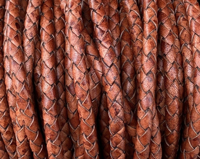 5mm Bolo Braided Leather Cord, Distressed Brown Genuine Indian Leather Cord, By The Yard, LCBR5  5mm Distressed Brown #4