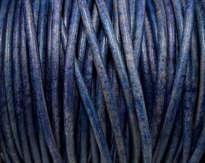 2mm Natural Pacific Blue Round Leather Cord, Premium European Leather 2mm Leather Cord,  By The Yard LCR2 - 2mm Natural Pacific Blue #86
