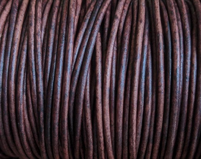 1.5mm Natural Antique Brown Leather Cord Premium European Soft Natural Antique Brown Leather, NAB - LCR1.5 - Natural Antique Brown #60P