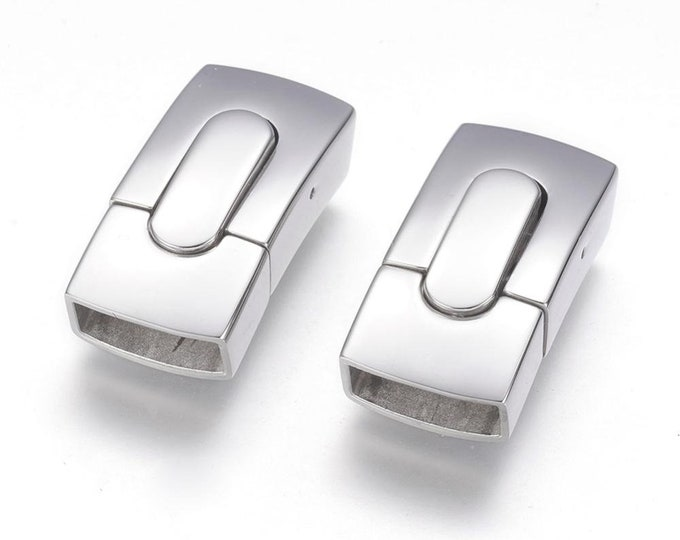 Flat Magnetic Clasp, Shiny Stainless Steel Magnetic Clasp, Jewelry Clasp, 10 x 5.5mm Hole Size Magnetic Clasp MC-93