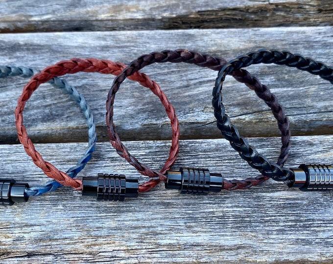 Flat braided leather bracelet - boho bracelet - women's leather bracelet - braided leather - leather jewelry - men's leather bracelet