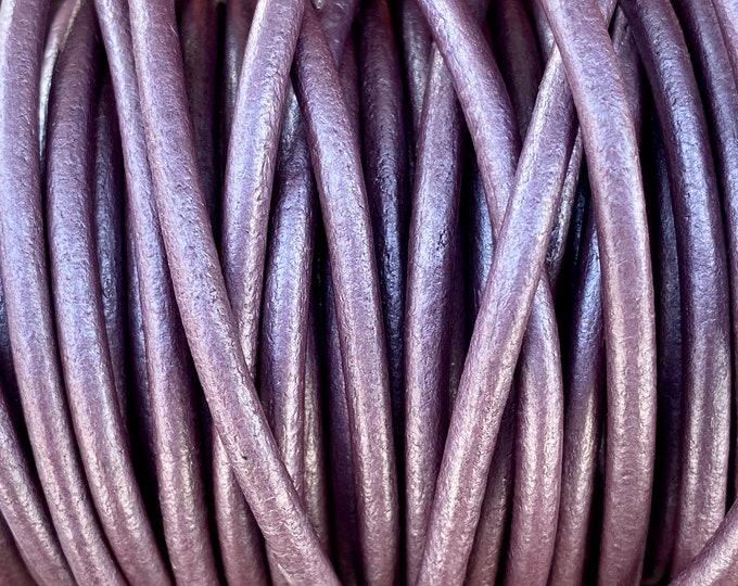 4mm Metallic Berry Round Leather Cord Premium Quality 4mm Round Leather Cord  LCR4 - Metallic Berry #2