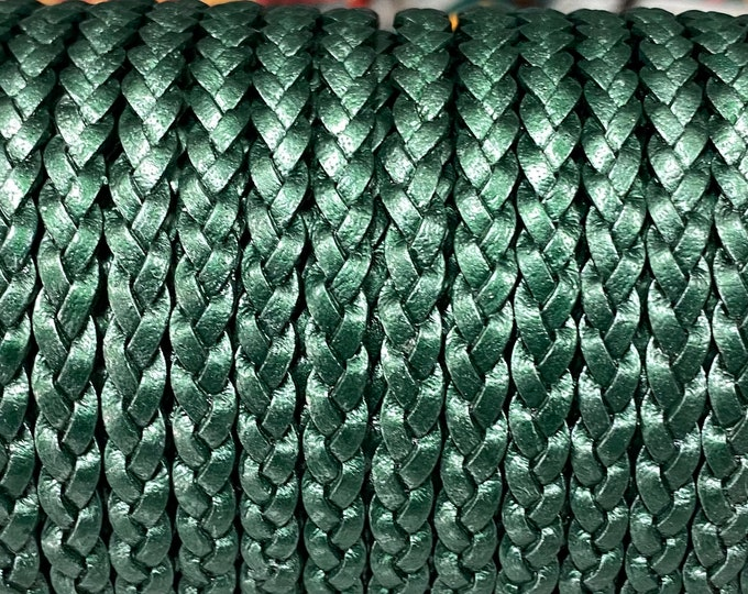 5mm Turquoise Metallic Flat Braided Leather Cord -By the Yard. - Genuine Indian Leather - LCF5 - 5mm Flat Braided Metallic Turquoise