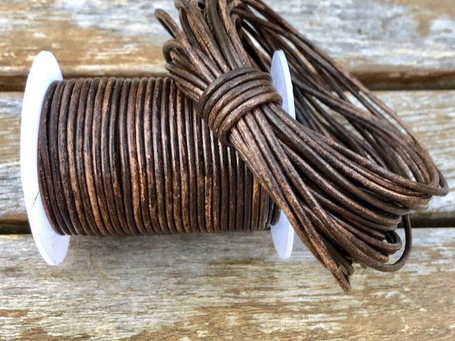 Natural Antique Brown Genuine Leather Cord Round 1.5mm by The Yard