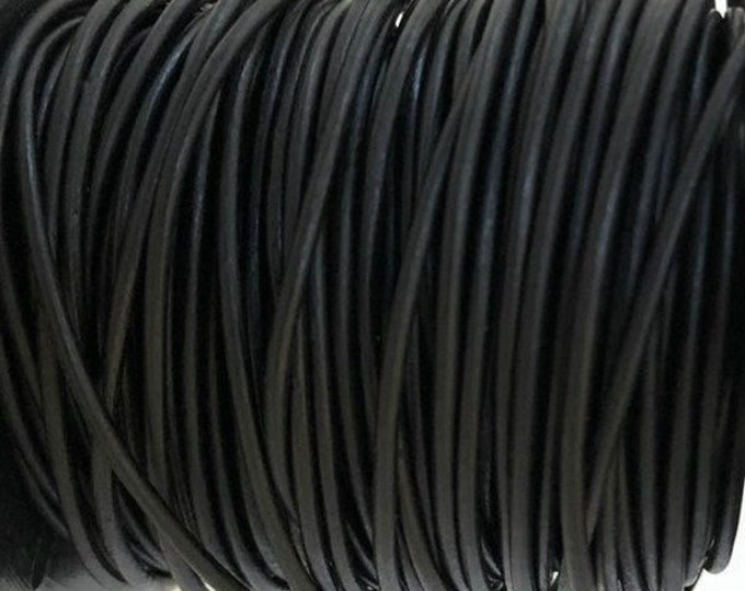2mm Natural Black Round Leather Cord Choose 1 yard to 25 Yards Premium European Leather LCR2 - 2 Natural Black #70P