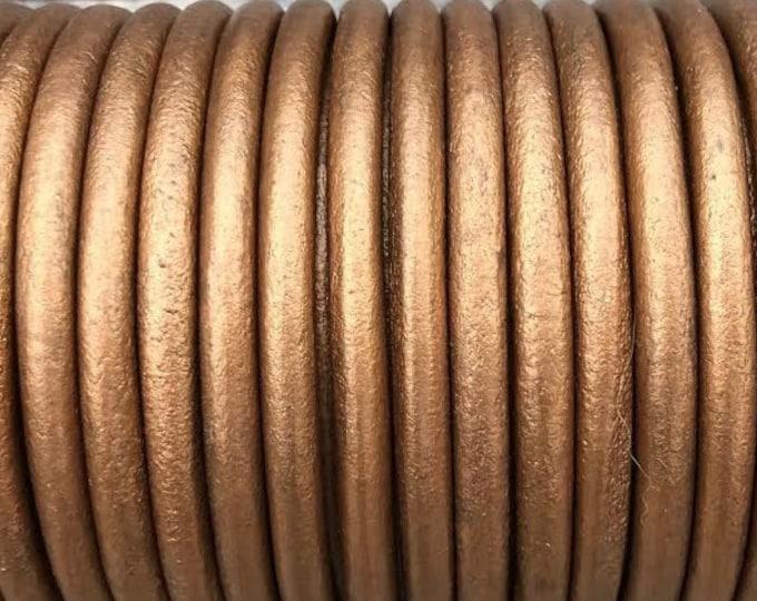 6.3mm Bronze Metallic Round Leather Cord Premium Quality 6.3mm Round Leather Cord  LCR6 - Metallic Bronze
