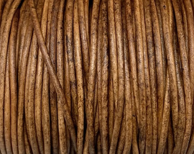 1.5mm Round Leather Cord - Honey Wood - A Brown Two Tone Antique Leather Cord - By The Yard Premium Leather Cord LCR1.5 - Honey Wood #25