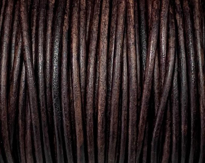 2mm Natural Dark Brown Round Leather Cord Choose 1 yard to 25 Yards Premium European Leather LCR2 - 2mm Natural Dark Brown #94P