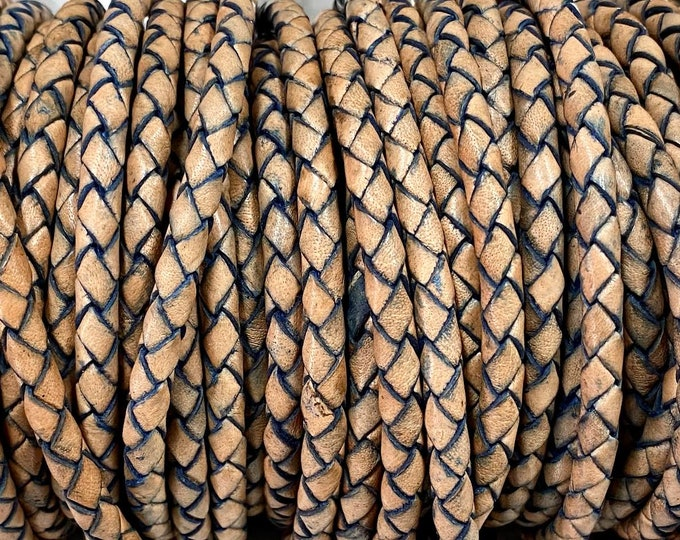 5mm Earth Blue Bolo Braided Leather Cord For 5mm Clasp By The Yard Made In India LCBR- 5  Earth Blue #16