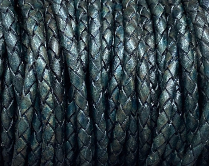 5mm Natural Dark Turquoise Bolo Braided Leather Cord For 5mm Clasp By The Yard Made In India LCBR- 5  Natural Dark Turquoise #10
