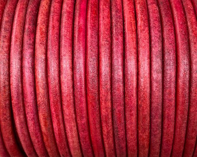 4mm Round Leather Cord, Crimson, Premium 4mm Round Leather Cord, LCR4 - Crimson #19