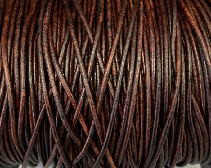 2mm Natural Dark Antique Brown Leather Cord 2mm Premium European Leather, LCR2 -  Natural Dark Antique Brown #49P