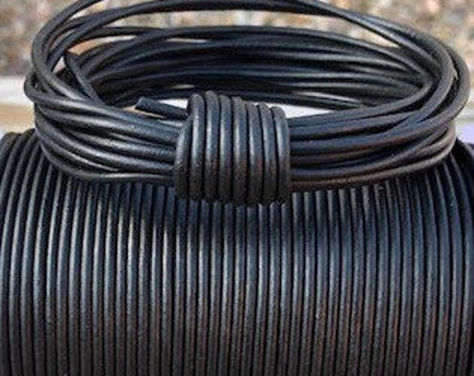 2mm Natural Matt Black Leather Cord, Leather Cord, Rope, Leather Supplies, Black Leather, Jewelry Leather, LCR2 - #1 Natural Matt Black