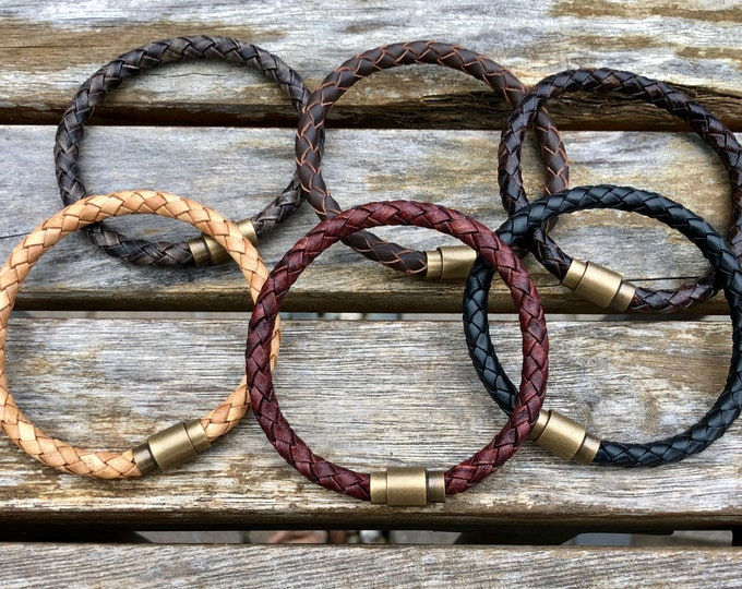 Man leather bracelet, braid leather bracelet, man gift, man braclet, leather jewelry, brass magnetic clasp, , CS-26