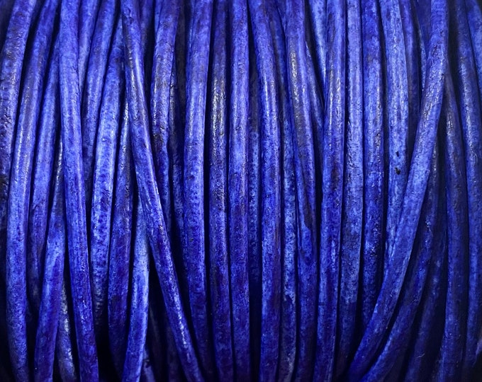 1.5mm Round Leather Cord, Lila Vintage, Premium European Leather Cord By The Yard LCR1.5 - 1.5mm Lila Vintage #98P