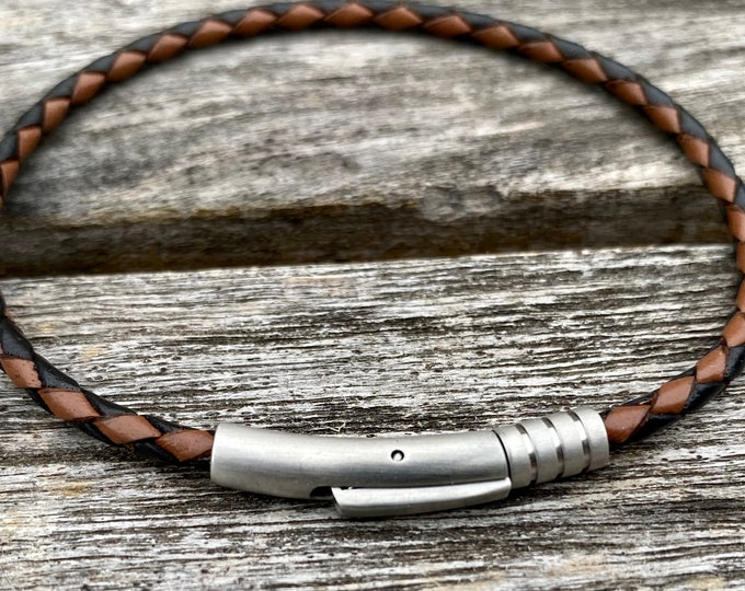Thin Braided Leather Bracelet With Stainless Steel Magnetic Clasp For Men and Women, 3mm Black and Brown CS-64