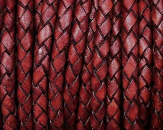 5mm Braided Leather - Antique Red - Bolo Braided Leather Cord  By The Yard - LCBR - 5  Antique Red #14