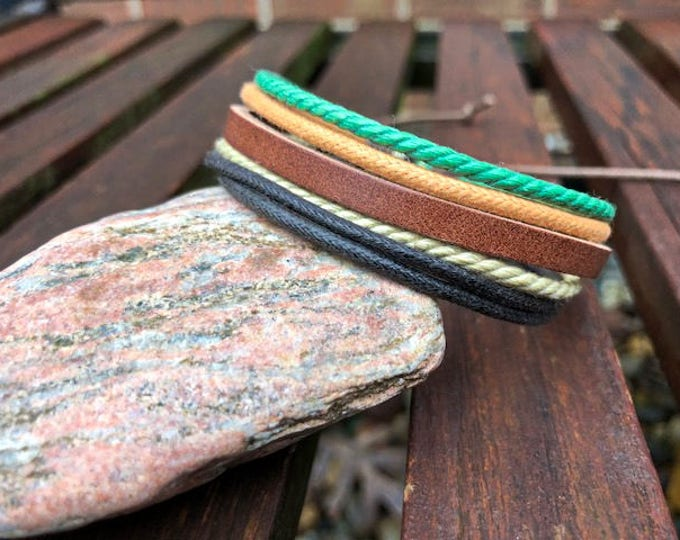 Leather Bracelet For Men and Women, Stylish and Colorful Adjustable Braclet,  JLA-19-A