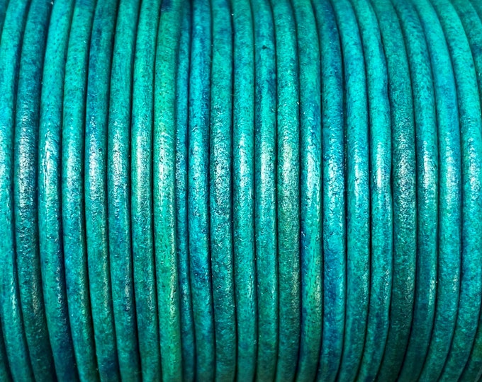 2mm Round Leather Cord - Natural Turquoise - 2mm Premium Round Leather Cord LCR2 - Natural Turquoise #17