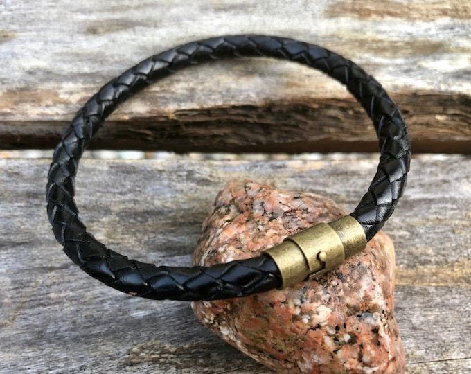 Mens Leather Bracelet With Brass Magnetic Locking Twist Clasp, Mens Bracelet, Braided Bolo Leather Bracelet, , Gifts under 20 CS-58