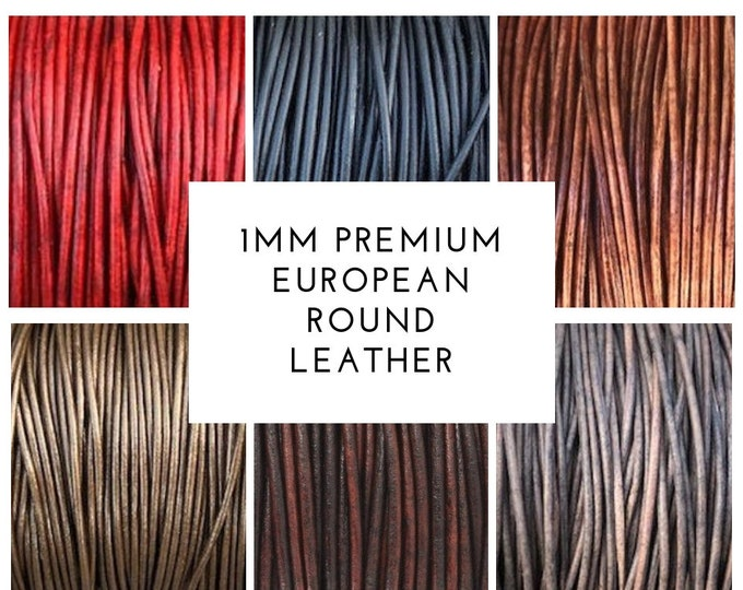 1mm Round Leather Cord - 28 Colors - Premium European 1mm Leather Cord - LCR1 -200