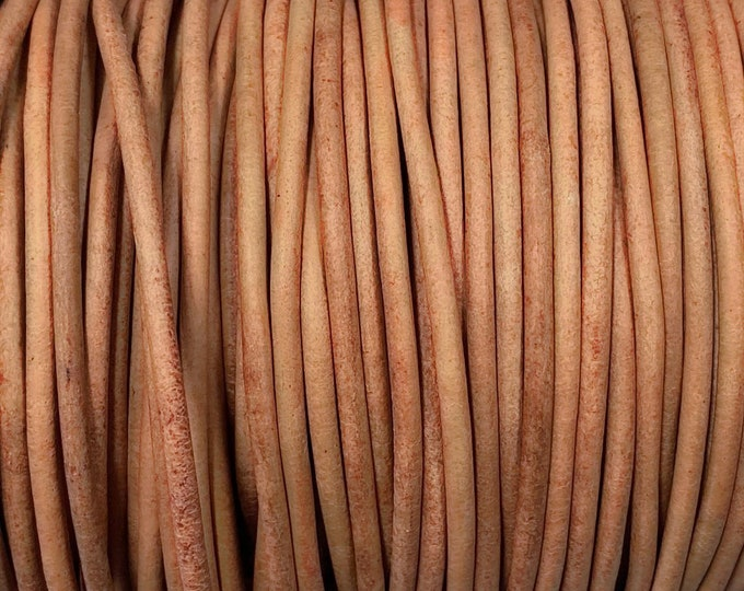 1.5mm Natural Round Leather Cord, Premium Quality European Leather Cord By The Yard, 1.5mm Leather Cord LCR1.5 - 1.5mm Natural Leather #93P