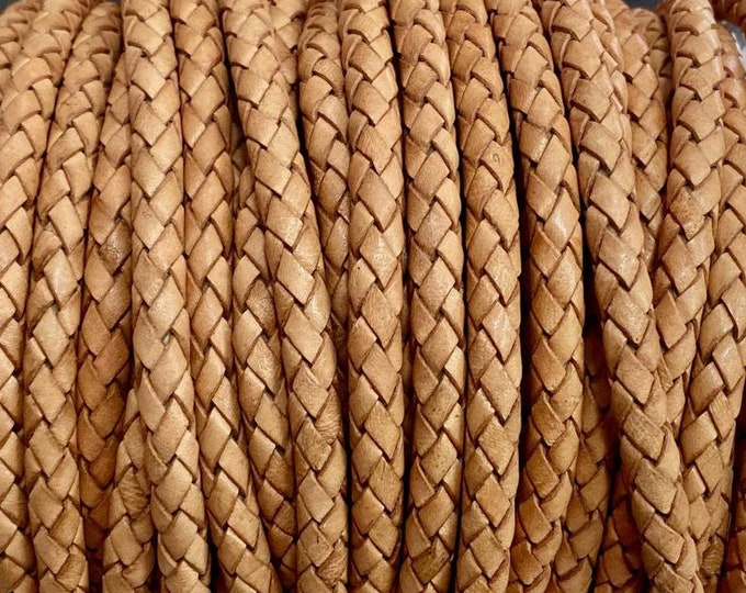 5mm Braided Leather - Natural Tan - Bolo Braided Leather Cord By The Yard - LCBR - 5 Natural Tan #7
