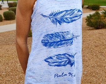Feathers // Women's Christian Tank Top // Christian Shirt // Ultra-Soft Flowy Racerback Tank // Handmade