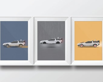 Back to the Future - DeLorean Poster Prints (Bundle)