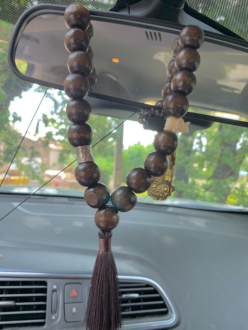 KIT jewelcar ornament mirror in wooden beads and pompom