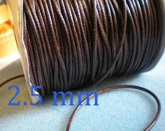 Set of 3 or more yards of waxed cord Brown dark fine quality 2.5 mm