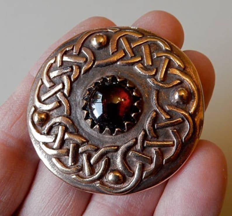 Garnet Celtic Knotwork Brooches in Bronze