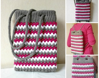 Crochet pattern for a Backpack and a Bag, 2-in-1