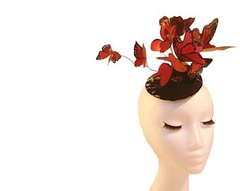 Red Black Butterflies Hat; Red Butterfly Fascinator; Ascot Hat; Wedding Hat; Teardrop Fascinator; Luxury Millinery; Butterfly Hat