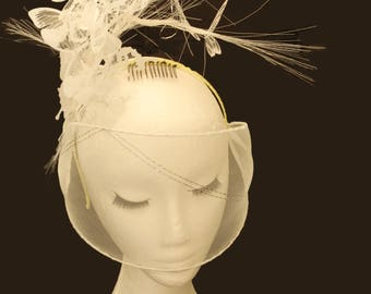Sample Sale White Veil Fascinator; Bridal Veil; Ascot Butterflies Headpiece; wedding fascinator white; Ascot fascinator