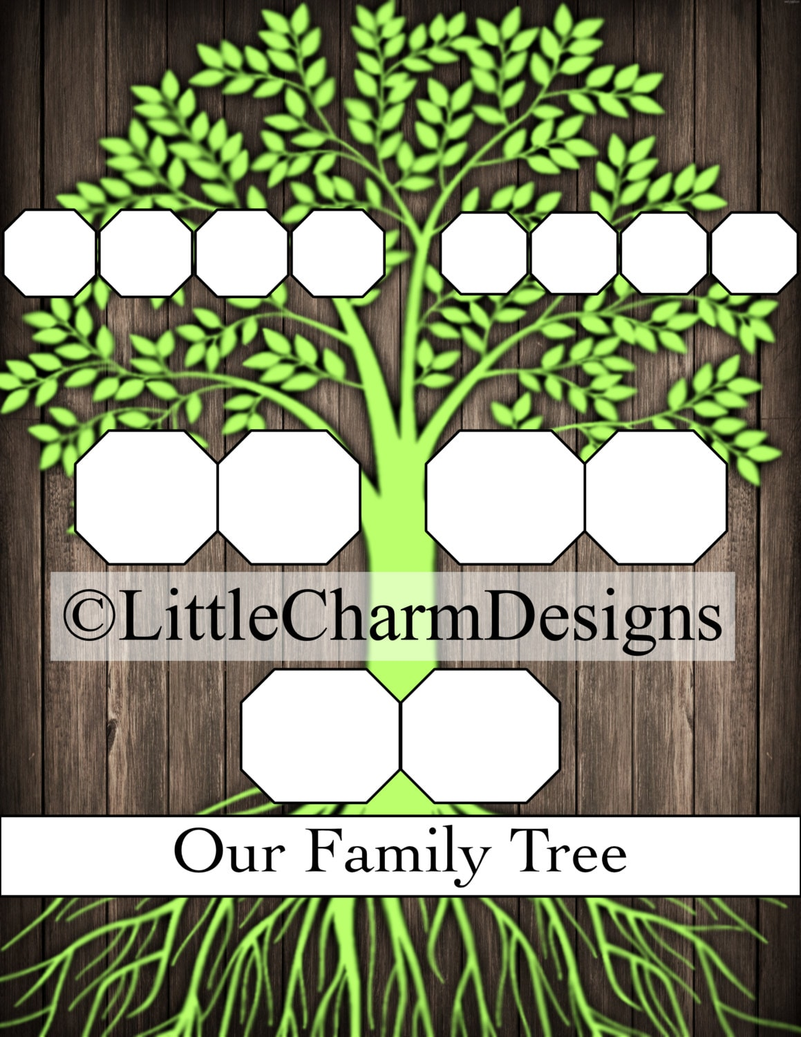 Family Tree Template Digital Download 85 X 11 High Etsy