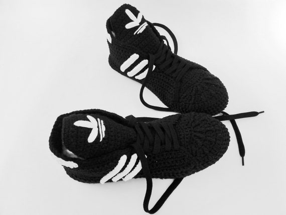 2b023ccba2ff4 Adidas Slippers Black Crochet Booties Cotton Sneakers