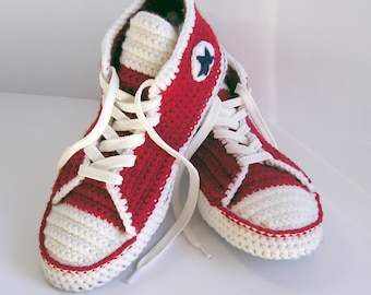 Converse Adult Booties Slippers Red Wool High Top Sneakers Gift for Him
