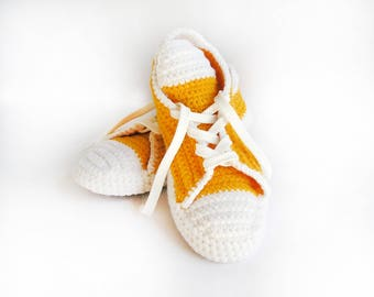 Handmade Converse Slippers Crocheted Wool Booties