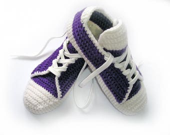 Converse Adult Slippers/ Crochet House/ Men Women Slippers/ Low Top Sneakers