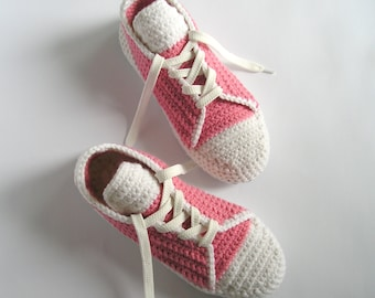 Women's Slippers Converse Pink Crocheted Slippers Girls Crochet Shoes Birthday gift for Wife