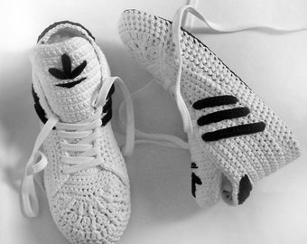 Adidas Slippers White Crochet Booties Cotton Sneakers