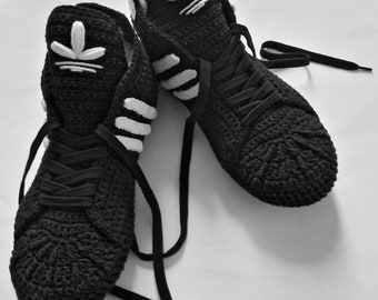Adidas Slippers Black Crochet Booties Cotton Sneakers