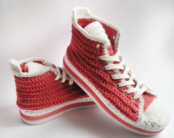 Crochet Adult Booties, Slippers with soles of rubber, Crochet Women's Shoes, High Top Wool Slippers,Knit Slippers, Men's Sneakers.