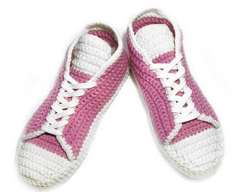 Wool Slippers Pink Crochet Women Shoes Crocheted Slippers Girls Shoes Lady Sneakers House Shoes