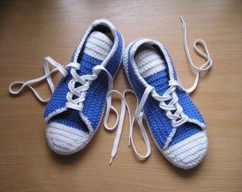 Slippers Converse Wool Men/ Azure Crochet Shoes/ Blue Crochet Sneakers/ Cotton Crochet Shoes