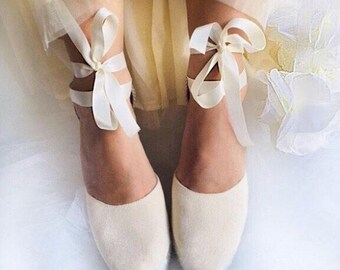 69b5d6116df56d ASHLEY Ivory Wedge Lace Up Espadrilles Boho style