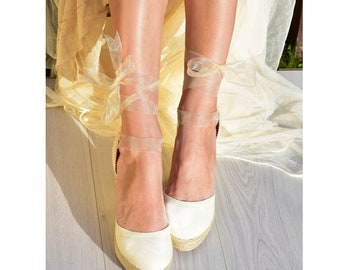 249e59b8afa3ca AUDREY PLATFORM Wedge Lace Up Ivory Espadrilles Boho Wedding Wedge High  Heel Espadrille Boho