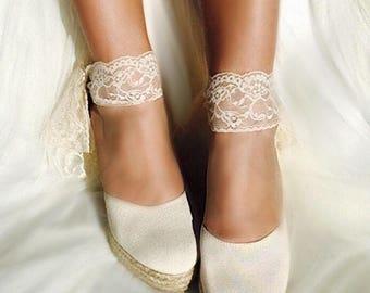 858482caf1a7 BEVERLY Lace Ivory Lace Platform Wedge Lace Up Espadrille Boho style Wedding