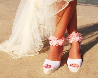 b67d35ad79c3a6 BOHOLUXE Peep Toe Platform Wedge Lace Up Espadrille Boho style Wedding  Ibizencas bridal shoes Wedding shoes Custom shoes